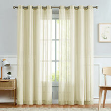 Sheer Curtains Stripe Semi Voile for Living Room Grommet Top Treatments 2 Panels