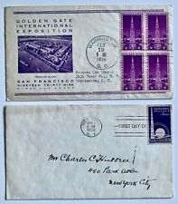 1939 covers New York World's Fair #853 FDC and SF Golden Gate Exposition #852
