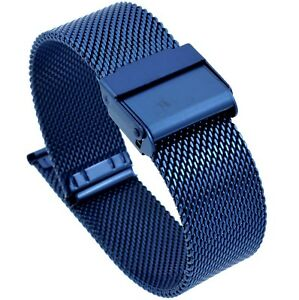 16mm Stainless Steel  Mesh Milanese Watch Band Bracelet Color Dark Blue  PVD