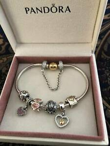 Pandora 14CT Gold Clasp and Silver Bracelet with Safety Chain - Authentic ALE