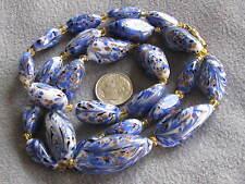 "25"" Vintage Venetian Aventurine Glass Bead Necklace Blue White Feathered"