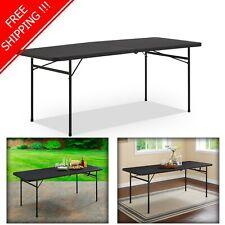 Bi Fold Folding Table 6 ft Black BBQ Picnic Party Portable Plastic Furniture NEW