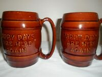 2  Hull 497 Brown Pottery Barrel MUGS - HAPPY DAYS ARE HERE AGAIN - VGC