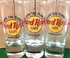 "Hard Rock Cafe HONOLULU 4"" SHOT GLASS ""STP"" Save The Planet HRC Logo 1st 2nd 3rd"
