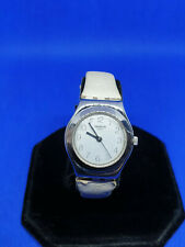 ladies vintage swatch irony chrome watch silver face & hands,cream strap.#b1.