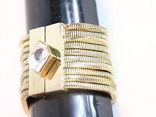 Bebe bracelet gold magnetic closure diamond crystal multi chain