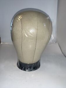 """23""""Cork Canvas Block Head Mannequin style hat display wig building mounting hole"""
