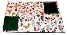 Tovaglia RUNNER cotone x 2 + 2 tovaglioli farfalle verde