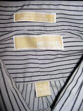 Michael Kors Mens Striped Dress Shirt Size Large 17 1/2 36/37 Long Sleeve Black