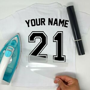 Sport Numbers Iron-On Football T-Shirt Transfer Vinyl Player Name White Black