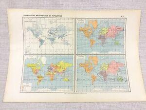 1888 Antique World Map Population Isothermic Meteorological FRENCH 19th Century