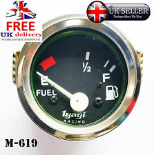 "Livello del carburante Metro Misuratore 52MM 2 ""CHROME Dial CLOCK CAV FURGONE BARCA BAR E-1 / 2-F m619"
