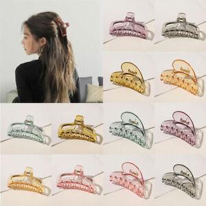Women Large Transparent Glitter Hair Claw Hair Clamp Hair Clips Plastic Hairpins
