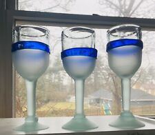 3 Mexican Hand Blown Glass Cobalt Blue Band Sea Green Frosted Wine Glasses 8 3/4