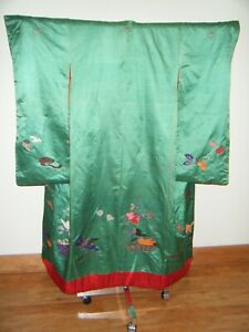 Antique Green Meiji Japanese Uchikake Wedding Kimono w/ Embroidery - R1276