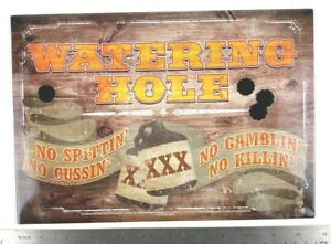 The Watering Hole Tin Metal Sign Reproduction Rules No Cussin Man Cave Gift Pub