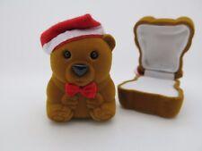 Lindo Pequeño Santa Oso de Peluche Anillo Joyas Caja de Regalo de Navidad Caso, Aretes