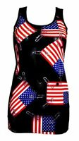 USA FLAG PIN-UP PATCH PRINT LONG VEST TOP SUMMER DRESS GOTH PUNK EMO OLYMPICS