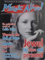 JEWEL UP CLOSE March 1999 MUSIC ALIVE! Magazine SHAKIRA / CELTIC HARP New
