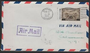 Canada 6¢ on 5¢ Airmail 1932 FDC w/ AIRMAIL Cachet & Inserts - CV $25.00- Sc #C3