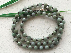 2pcs new Natural 21 inches  5.5mm -hand made  Jadeite-Bead-necklace .AAAS..