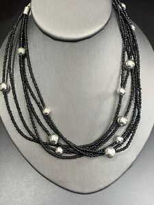 """Vintage Bohemian Six strand seed bead and Black And Silver bead necklace 16"""""""