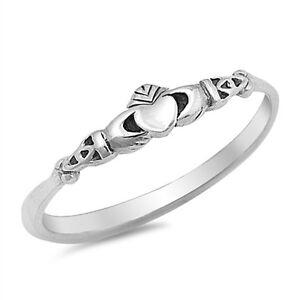 Skinny 925 Sterling Silver Celtic Claddagh Stacking Band Ring J L N P R T V