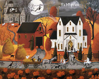 Print of folk art painting Halloween FRIGHT NIGHT haunted house witch hayride DC