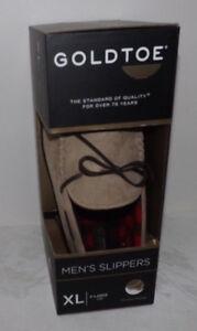 NIB Men's GOLDTOE Moccasin SLIPPERS - X-LARGE (13) - MSRP: $38.00