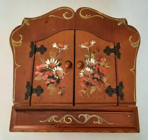 Decorative Key Box Holder Vintage Wooden Hand painted Flowers Wall Mount Cabinet