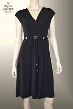 IVANKA TRUMP Women Dress Sz 10 Black MEDIUM VNECK Knee BELT Metal Act Sleeveless