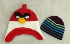 Bundle Children's Knitted Hats  angry bird  age approx  2 - 4 years - snow?