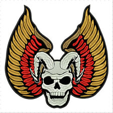 "WINGS SKULL LARGE REAPER  10""x10"" - sew on for biker vest patch, anarchy, rock B"