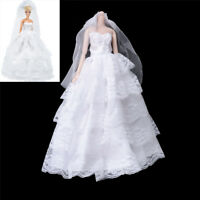Handmade   Dolls Wedding Bridal Dress Princess Gown Evening Party Clothes NIGG
