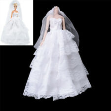 Handmade   Dolls Wedding Bridal Dress Princess Gown Evening Party Clothes PLF LY