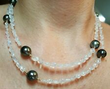 14k solid gold Tahitian pearl Moonstone 36 inch long wrap necklace bracelet