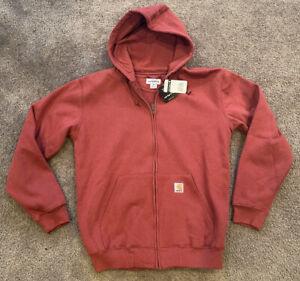 Carhartt M Men's Midweight Hooded Sweatshirt Zip Front Workwear Hoodie Burgundy