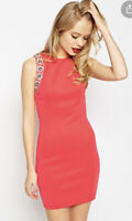 ASOS Dress Shift Stretch Embellished Armhole Coral Pink Size 12 BK06 New