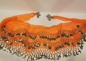 "Fashion Belly Dance Waist 64""x11"" Hip Skirt Scarf Bell Bead Tassel Gold Silver"