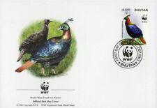 WWF  UCCELLI  FDC BHUTAN BUSTA PRIMO GIORNO 2003 FAGIANI 2/4