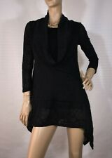ISHKA SIZE S ASYMMETRICAL BLACK TUNIC TOP AS NEW