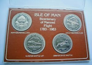 1983 BICENTENARY OF MANNED FLIGHT ISLE OF MAN CROWNS - COMPLETE SET - IoM MANX