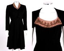 Vtg c.1930's 2 Pc Black & Pink Wool Crepe Beaded Cropped Bolero Dress Suit Set