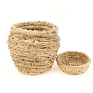 Straw Budgerigar Bird's Nest Round Rattan Bird Nest Handmade Craft Vine St M/