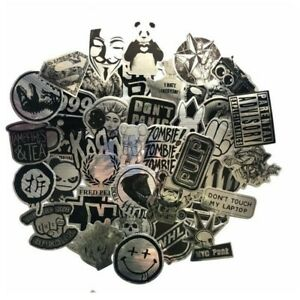 Stickerbomb set 50 pieces stickers silver and black VW car van laptop