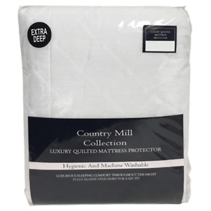 Country Mill Collection King Size Luxury Quilted Mattress Protector 150 x 200+30