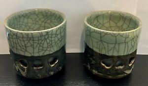 VTG SOMAYAKI Soma Ware Double Wall Hearts Tea Cup Gold Horse Green Crackle Japan