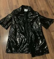 Carlisle Coat Womens Size 4 Small S Jacket Black Button Down Trench Rare
