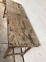 Primitive Early Old Antique Folding Wood Farm House Table 68 x 24 x 29.5 tall