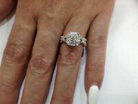 Diamonds ,1.25ctTW Halo 14k White Gold Engagement,wedding Rings,set,size 7